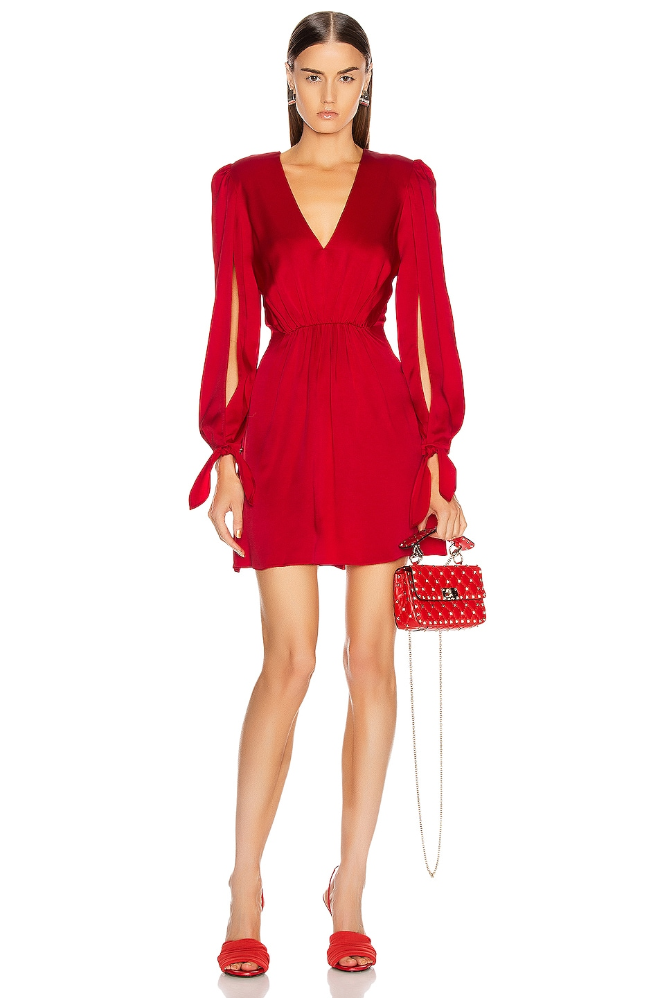 Image 1 of HANEY Joplin V Neck Dress in Red