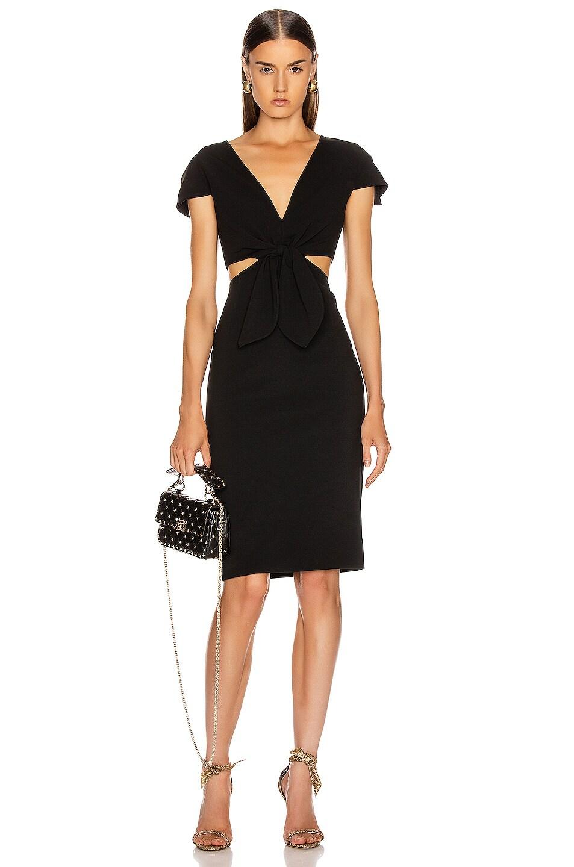 Image 1 of HANEY Phoebe Deep V Tie Dress in Black