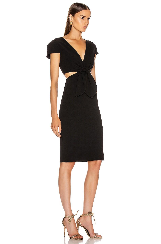 Image 2 of HANEY Phoebe Deep V Tie Dress in Black