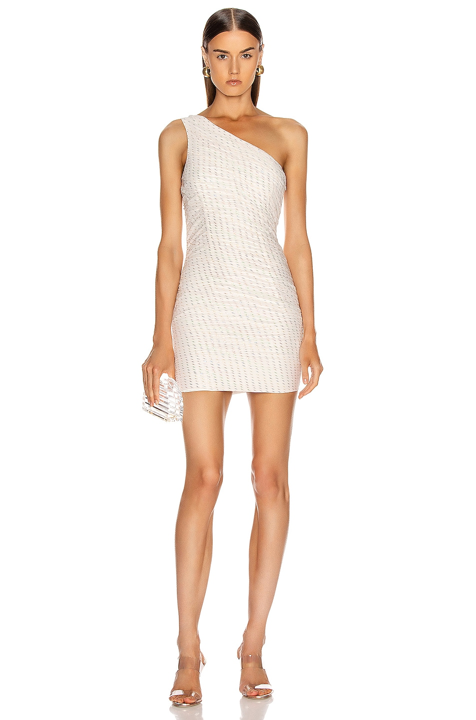 Image 1 of HANEY Tinsley One Shoulder Draped Dress in Ivory & Rainbow Lurex Dashes