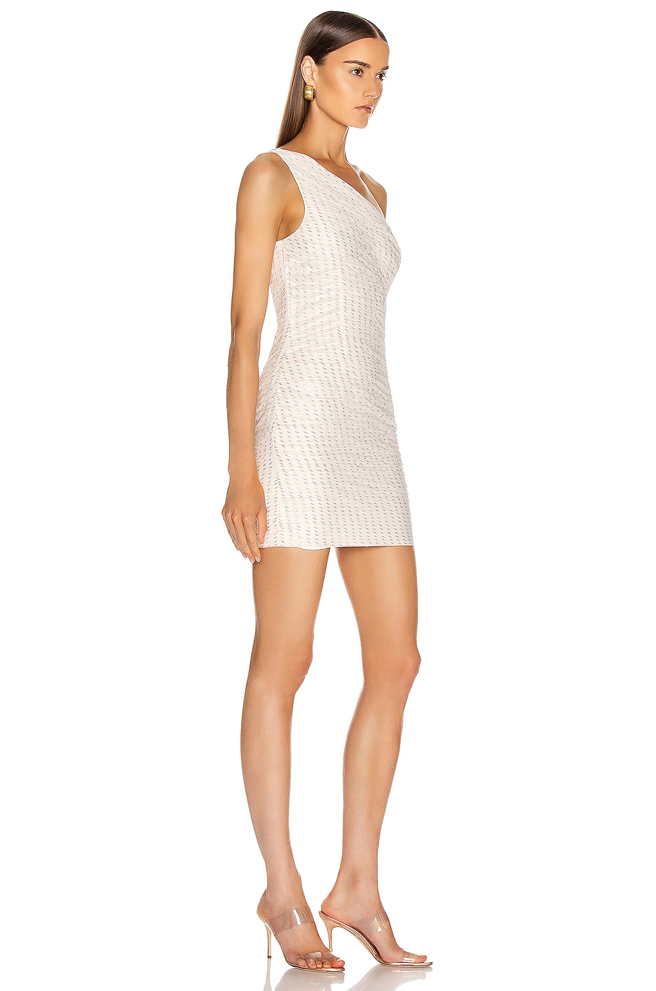 Image 2 of HANEY Tinsley One Shoulder Draped Dress in Ivory & Rainbow Lurex Dashes