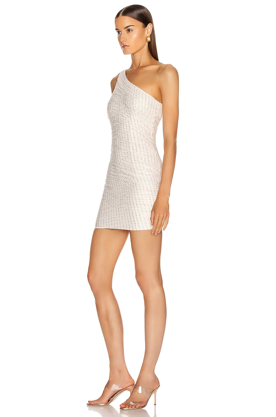 Image 3 of HANEY Tinsley One Shoulder Draped Dress in Ivory & Rainbow Lurex Dashes