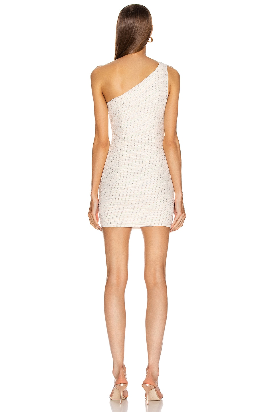 Image 4 of HANEY Tinsley One Shoulder Draped Dress in Ivory & Rainbow Lurex Dashes