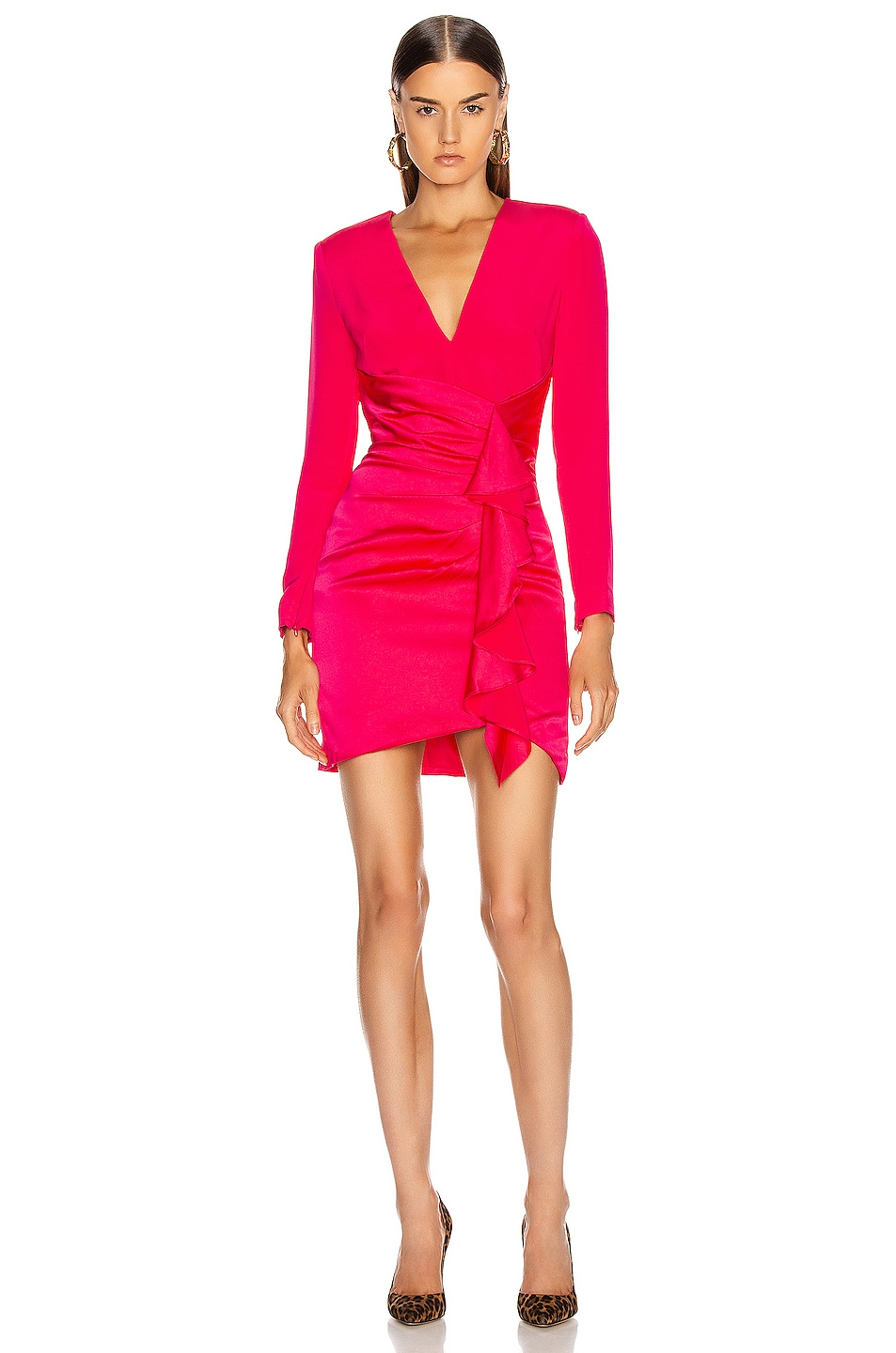 Image 1 of HANEY Lilly Draped Ruffle Dress in Hot Pink