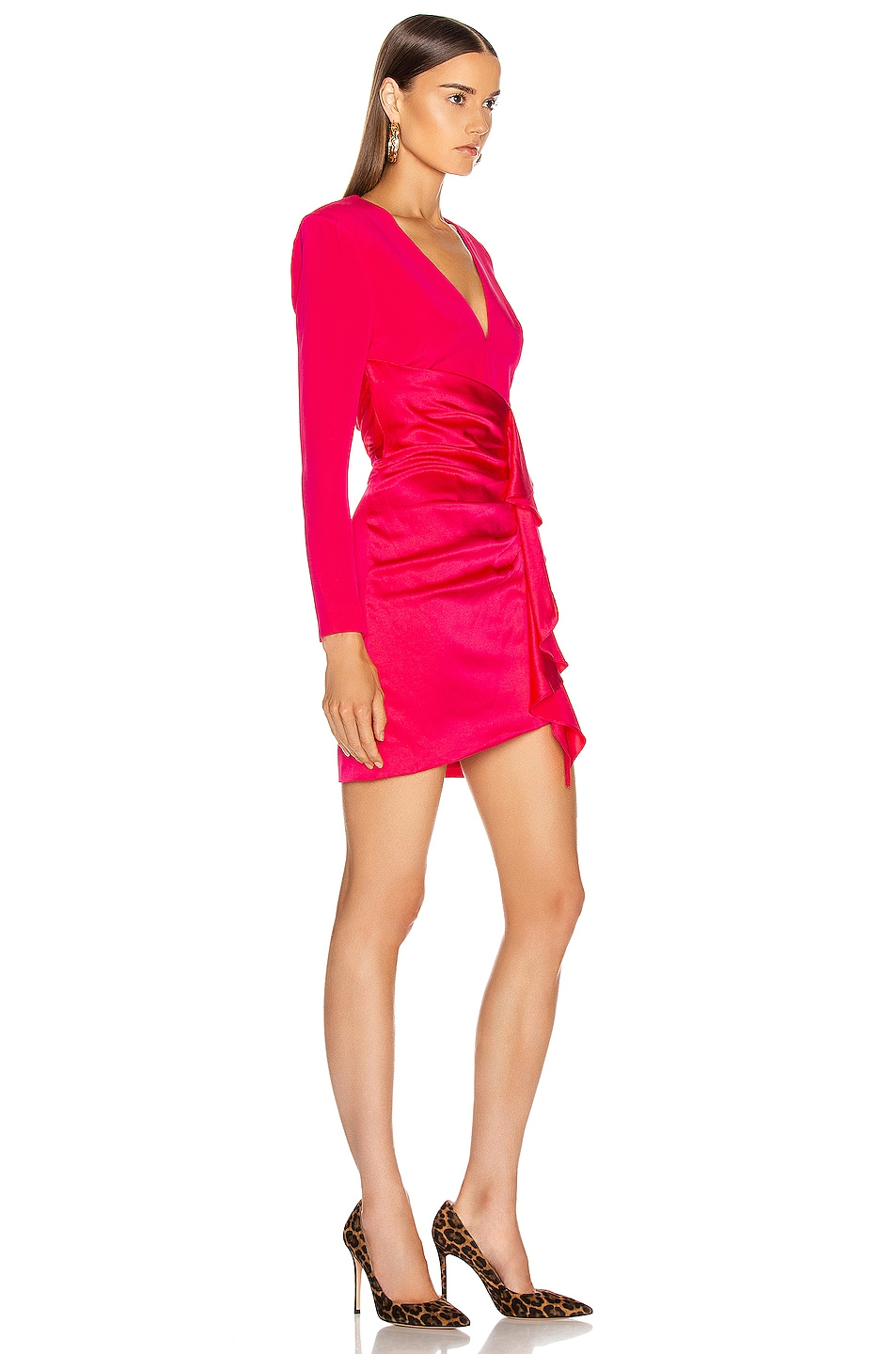 Image 2 of HANEY Lilly Draped Ruffle Dress in Hot Pink