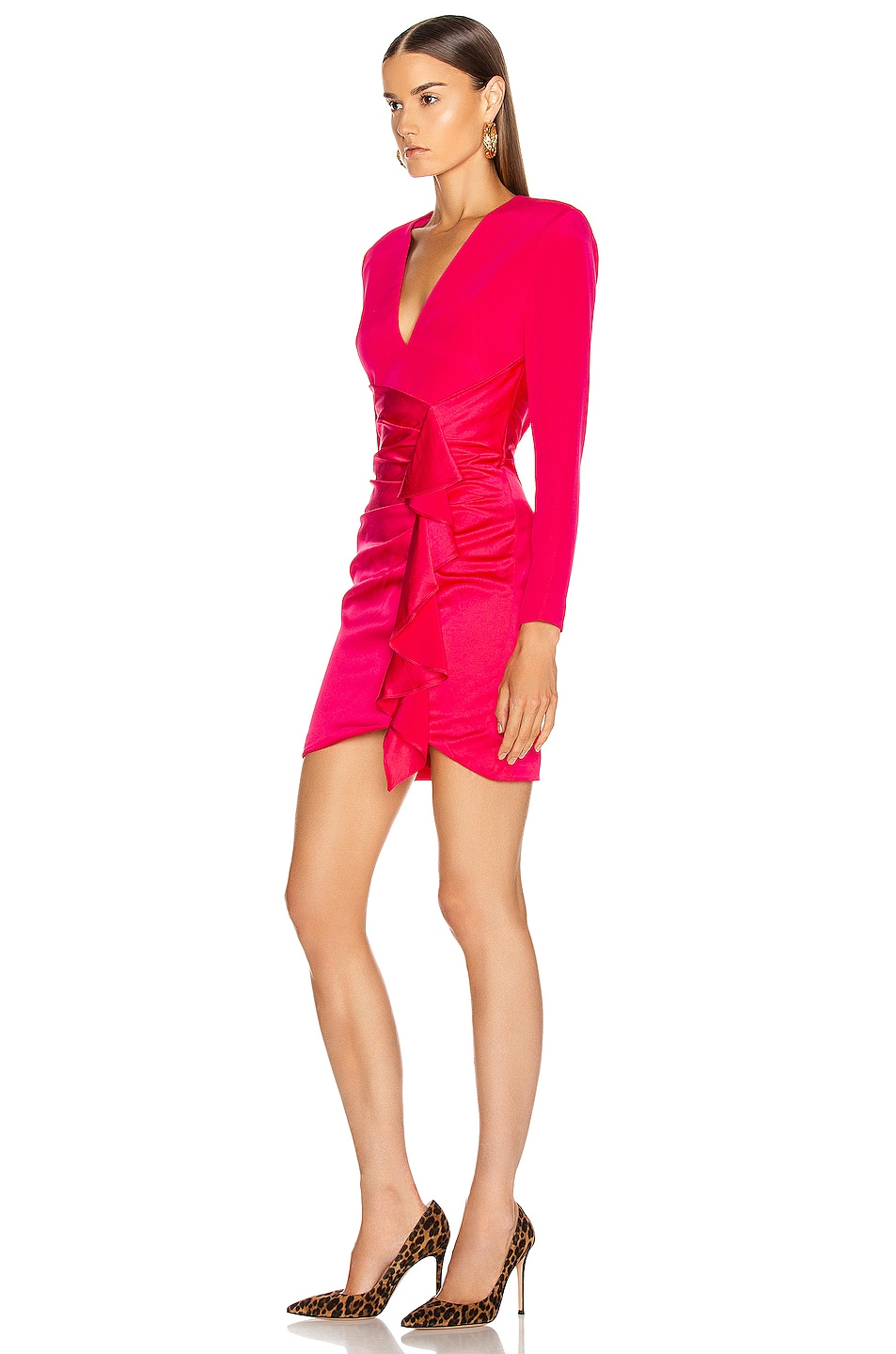 Image 3 of HANEY Lilly Draped Ruffle Dress in Hot Pink
