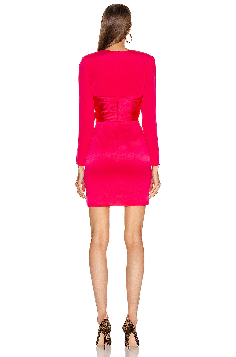 Image 4 of HANEY Lilly Draped Ruffle Dress in Hot Pink