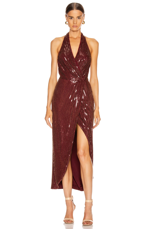 Image 1 of HANEY Aurora Sequin Dress in Garnet & Gold