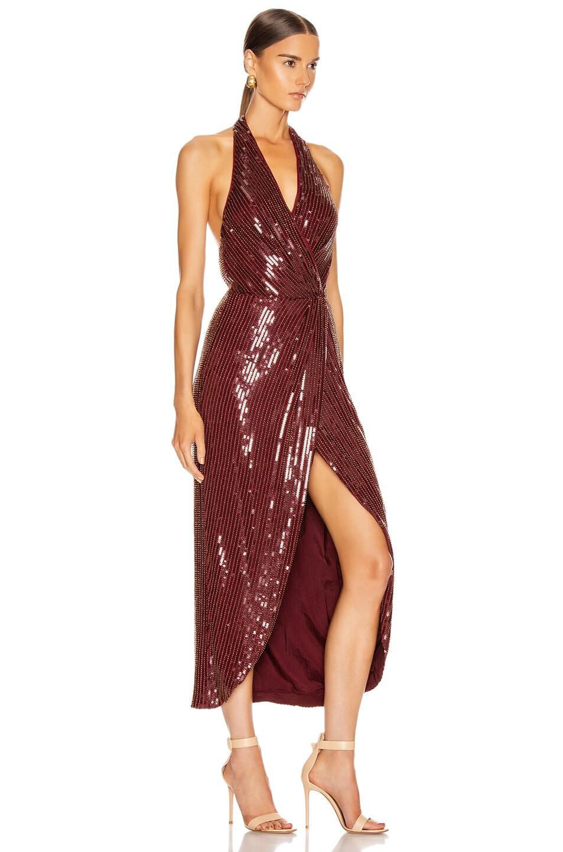 Image 2 of HANEY Aurora Sequin Dress in Garnet & Gold