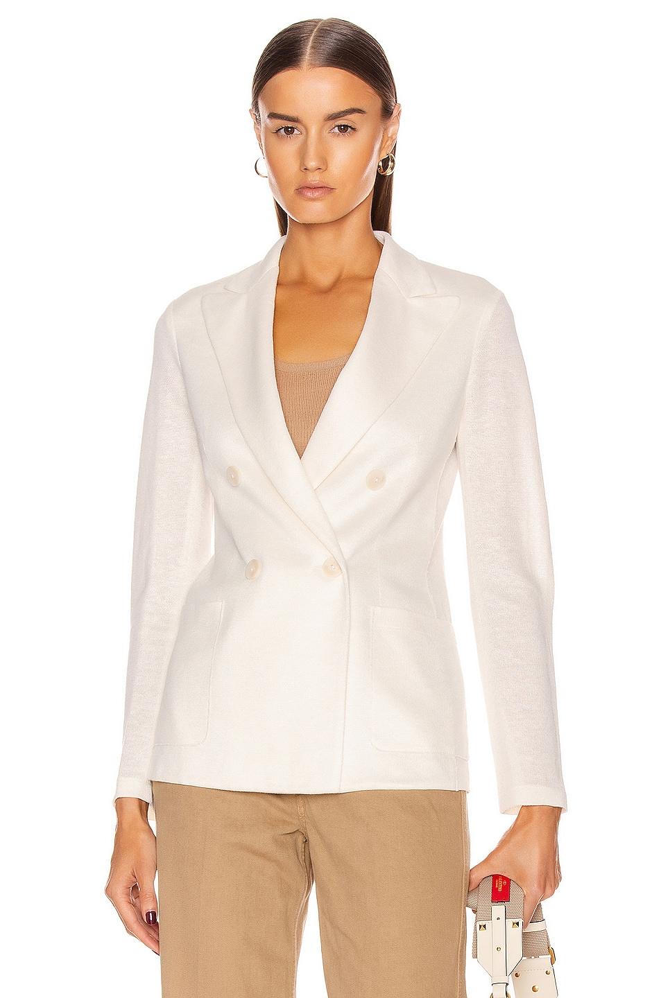 Image 1 of Harris Wharf London Peal Lapel Blazer Jacket in Off White