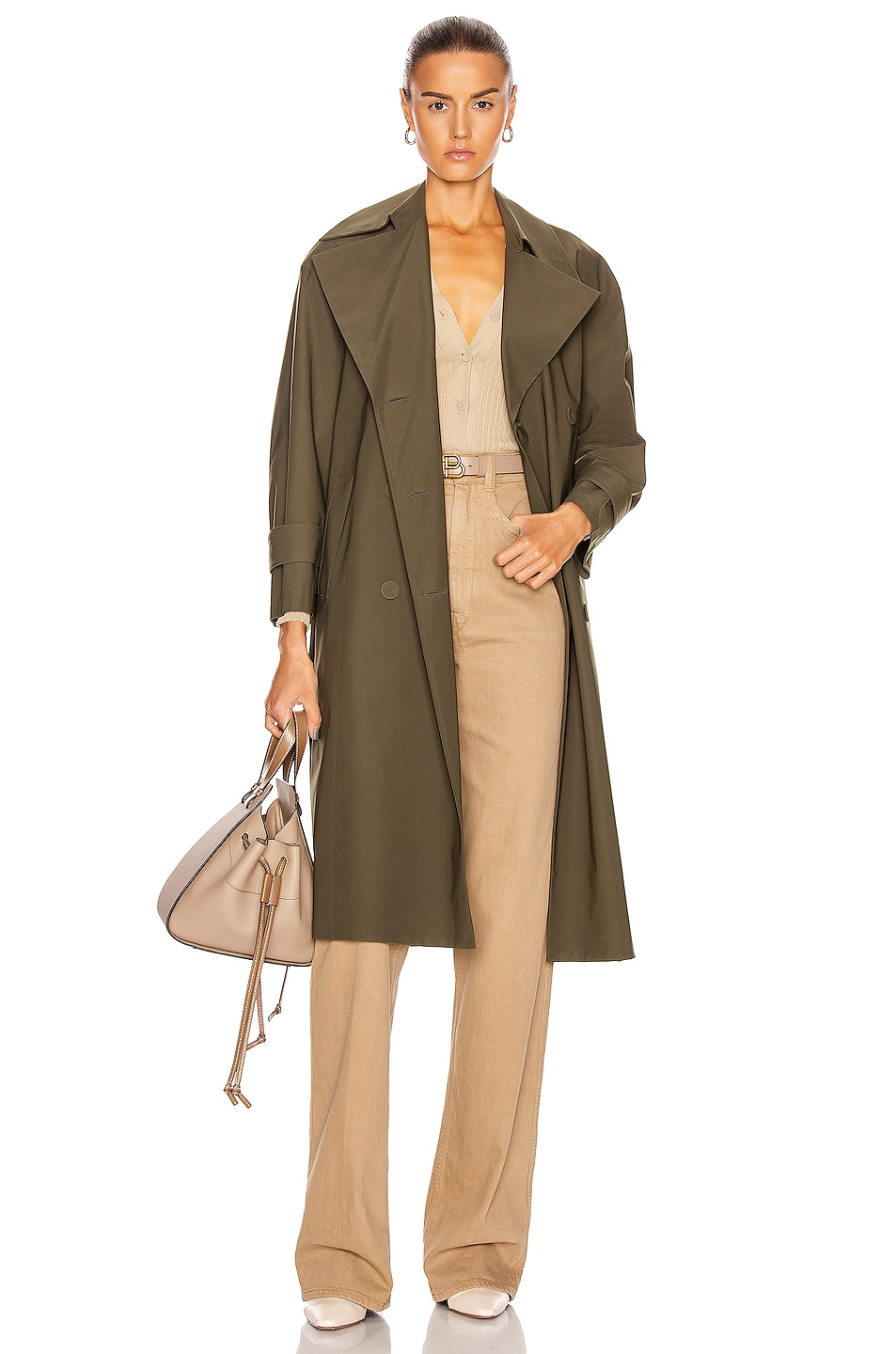 Image 1 of Harris Wharf London Oversized Trench Coat in Military Green