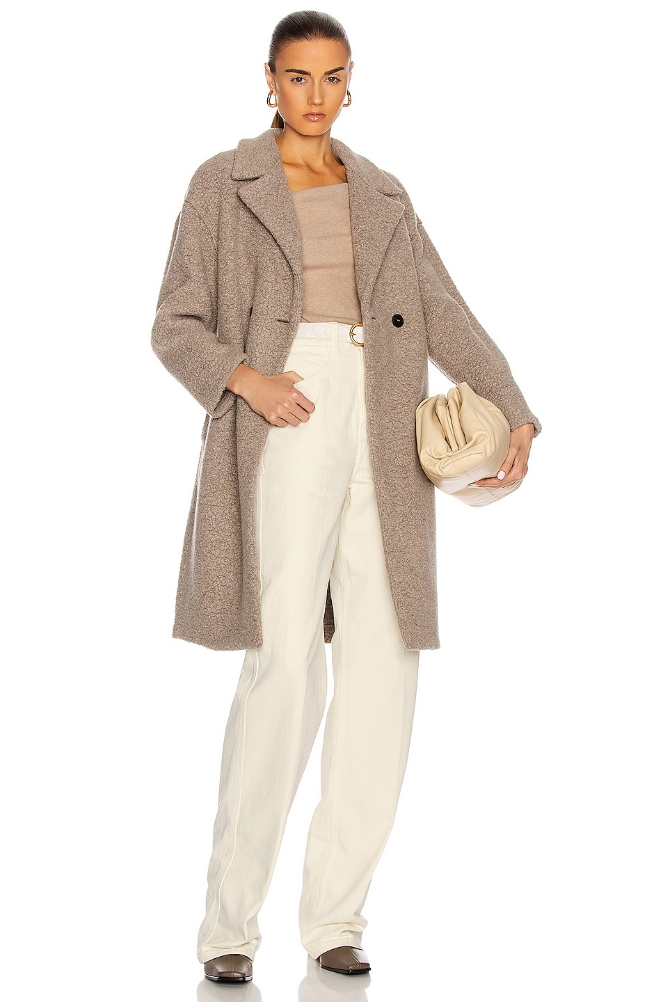Image 1 of Harris Wharf London Dropped Shoulder Double Breast Coat in Taupe