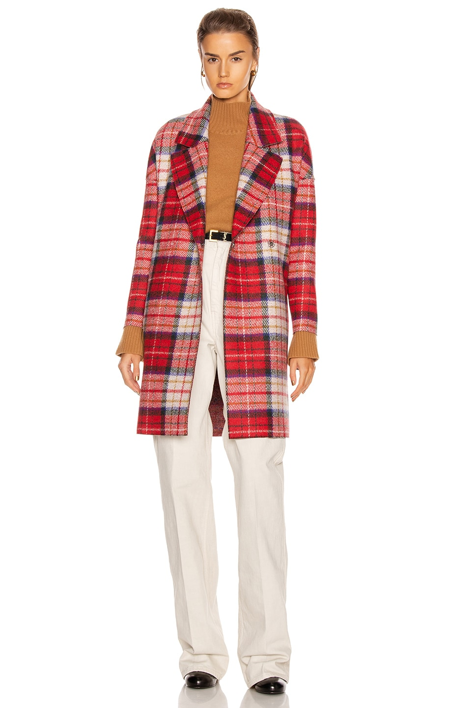 Image 1 of Harris Wharf London Oversize Tartan Coat in Red