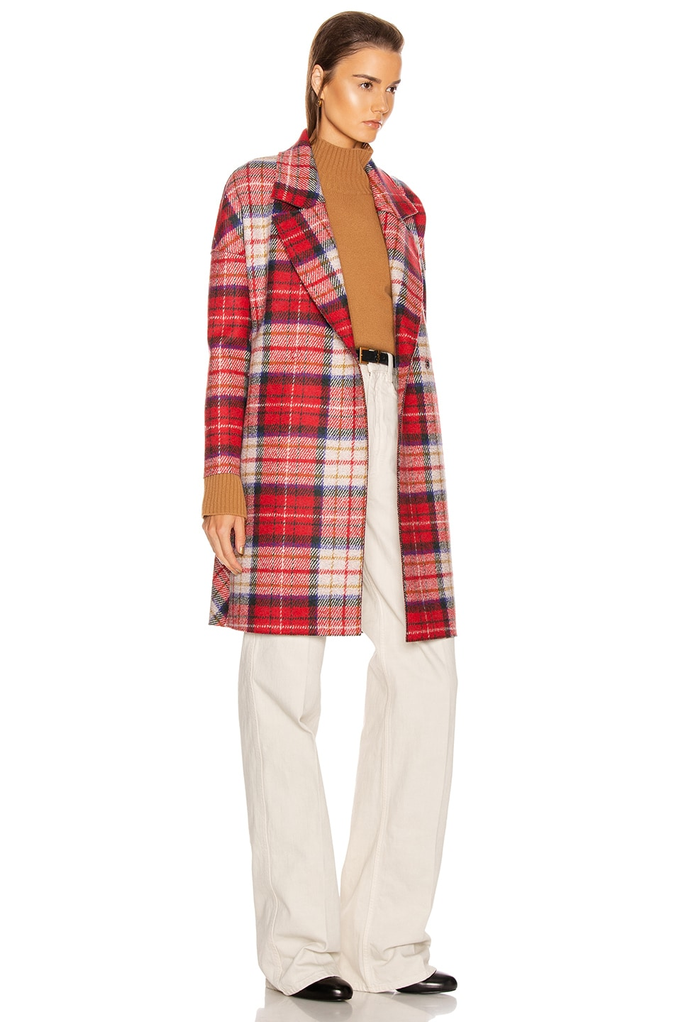 Image 3 of Harris Wharf London Oversize Tartan Coat in Red