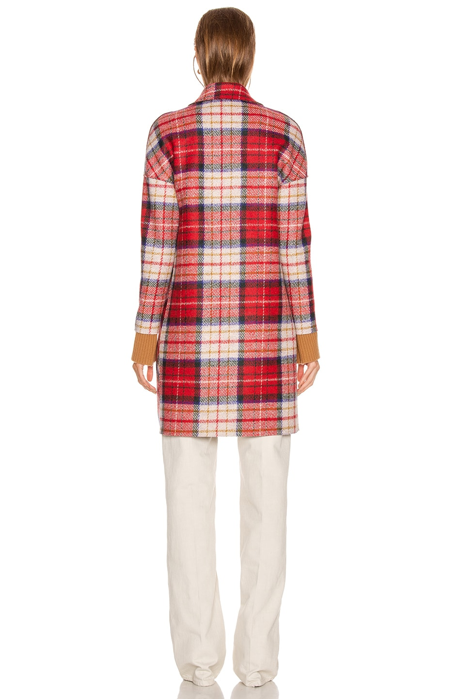 Image 4 of Harris Wharf London Oversize Tartan Coat in Red