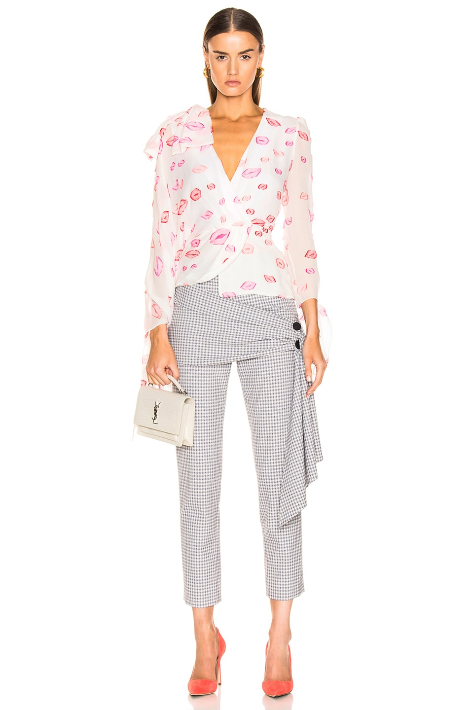 Image 1 of HELLESSY Artemis Blouse in White & Pink