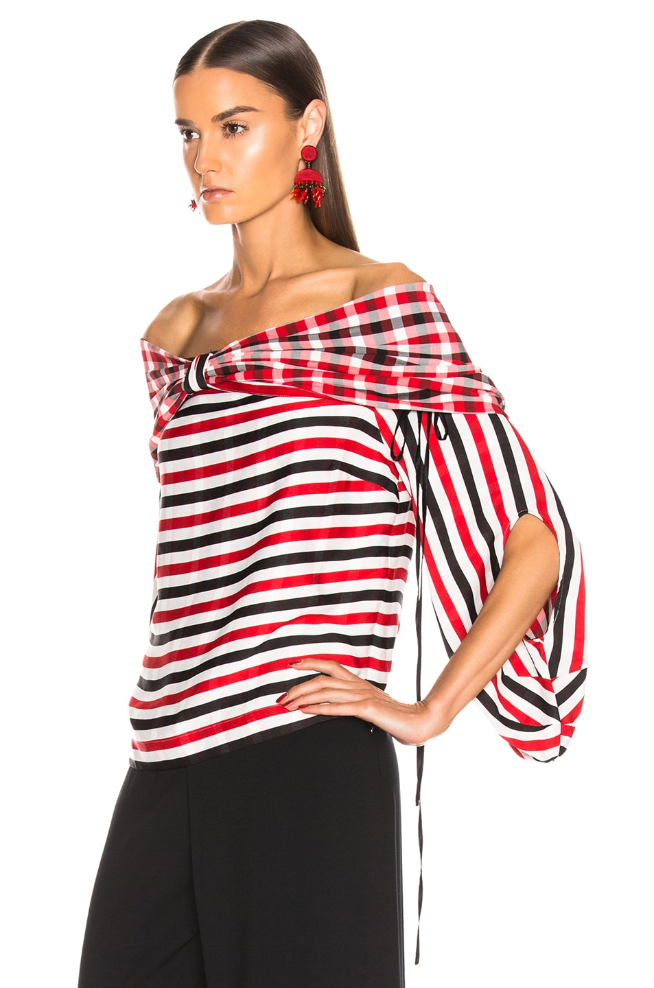 Image 4 of HELLESSY Galaxy Blouse in Red, White & Black