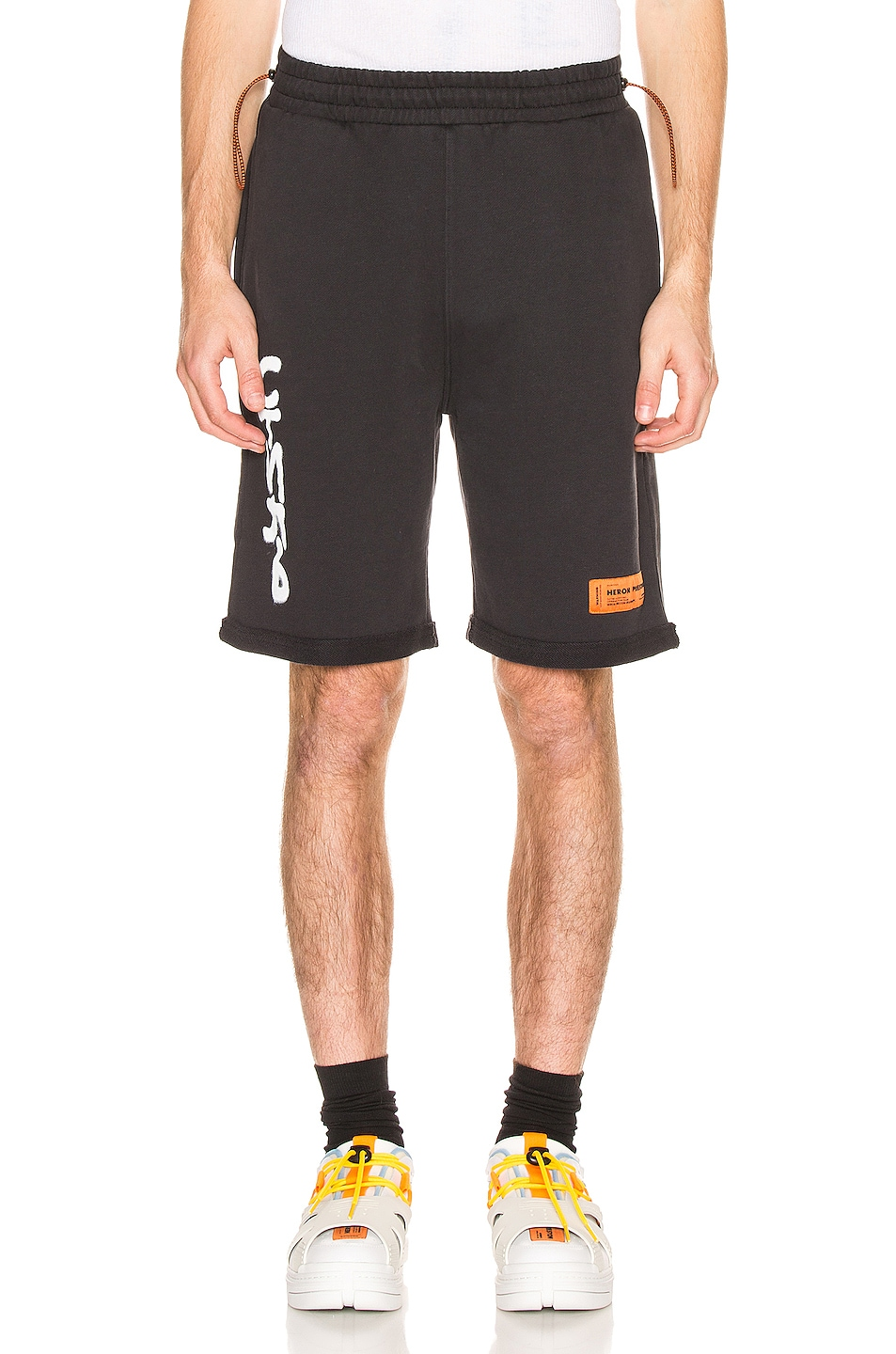 Image 1 of Heron Preston CTNMB Fleece Shorts in Black & White