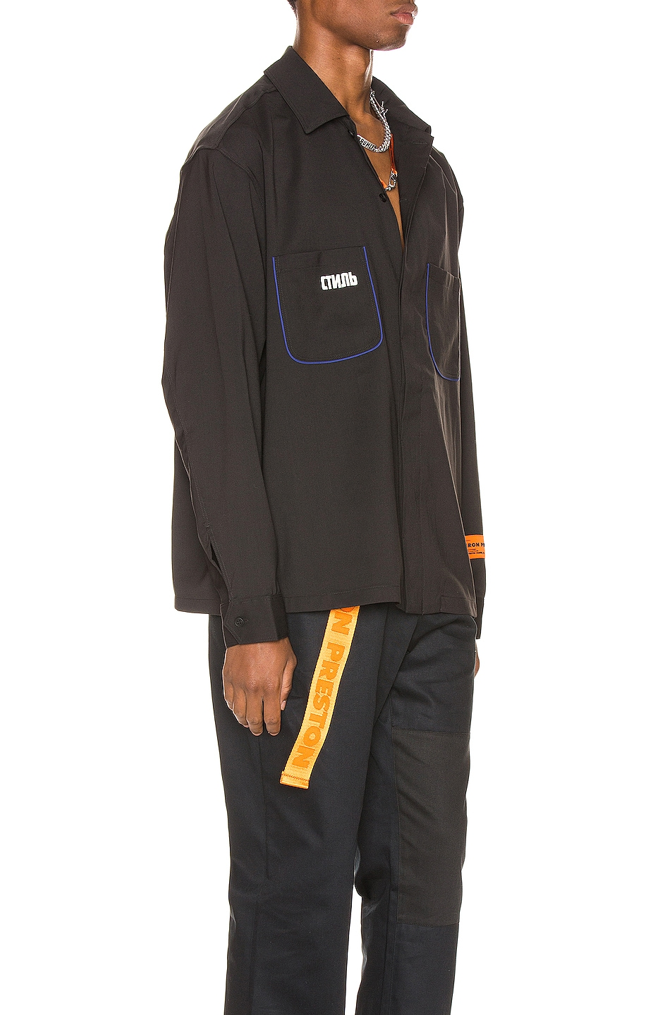 Image 2 of Heron Preston CTNMB Worker Shirt in Black