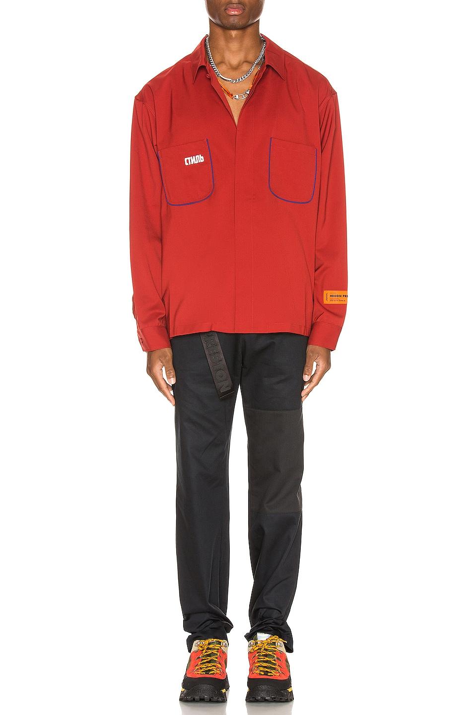 Image 5 of Heron Preston CTNMB Worker Shirt in Dark Red
