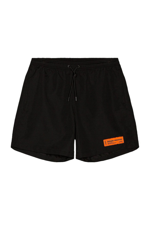 Image 1 of Heron Preston Nylon Swim Shorts in Black