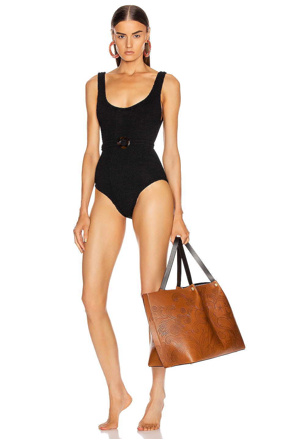 Image 1 of Hunza G Solitaire Swimsuit in Black