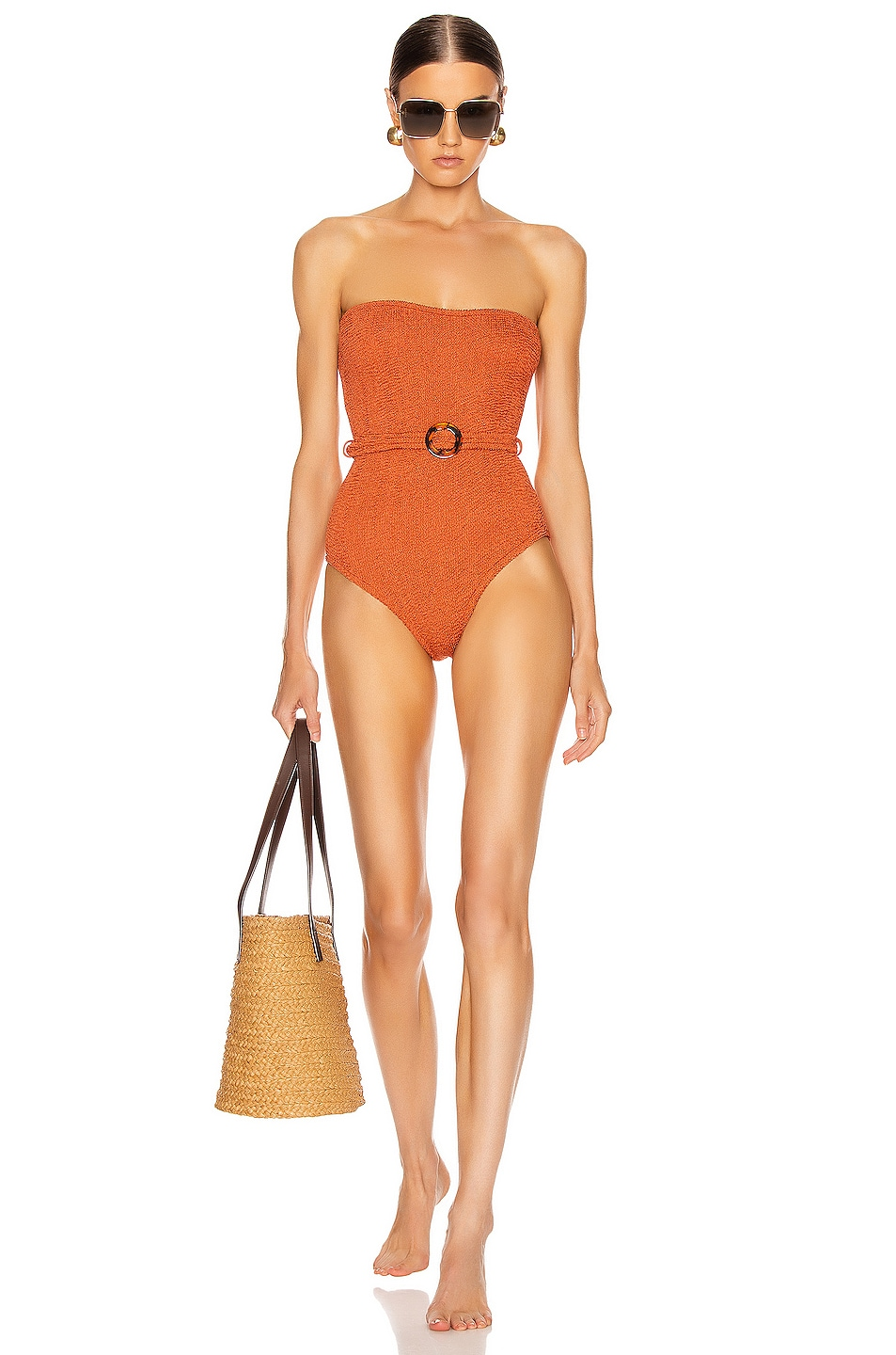 Image 1 of Hunza G Honor Swimsuit in Metallic Rust