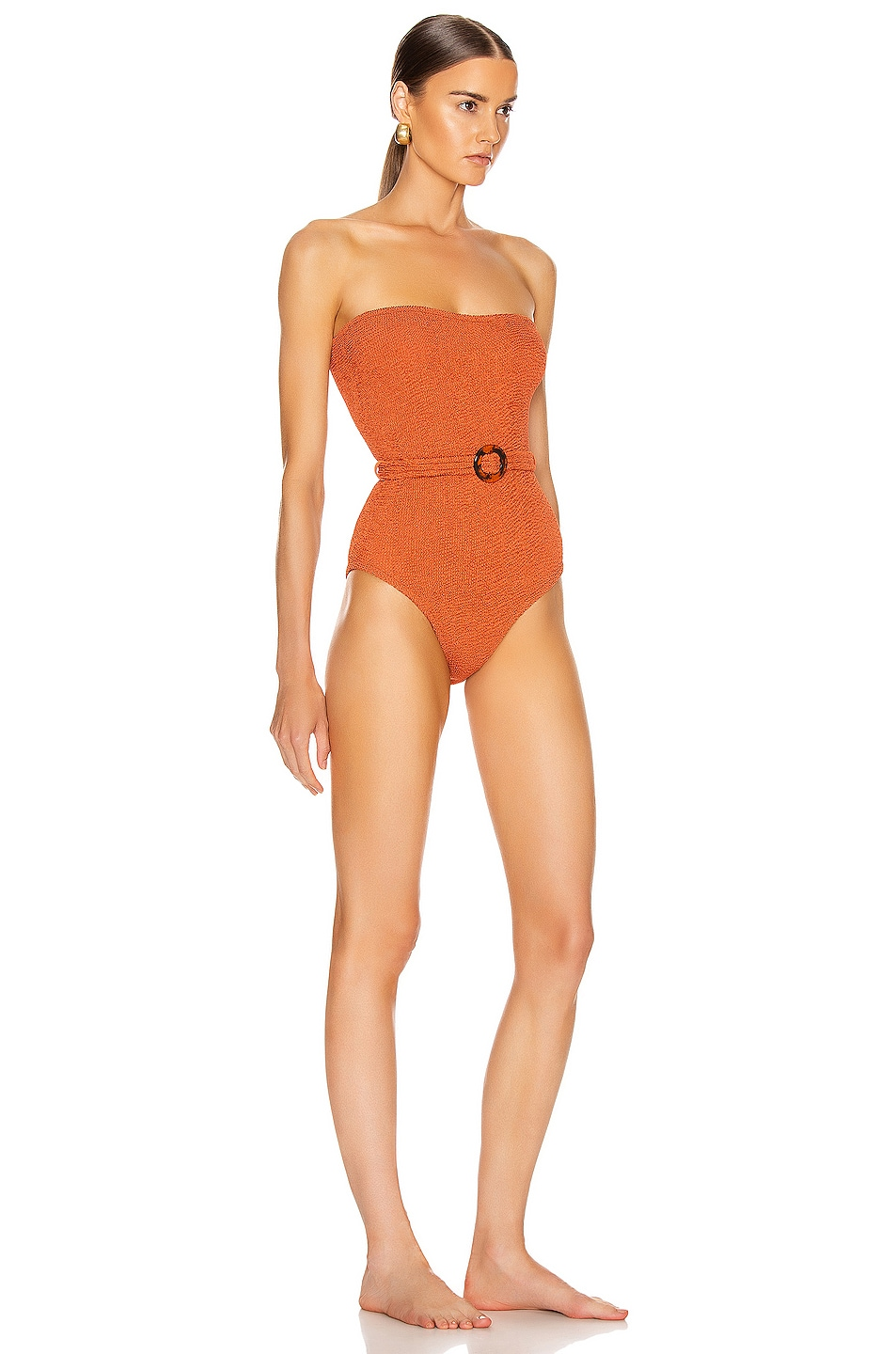 Image 2 of Hunza G Honor Swimsuit in Metallic Rust
