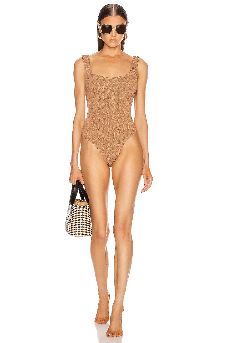 Image 1 of Hunza G Classic Square Neck Swimsuit in Metallic Cocoa