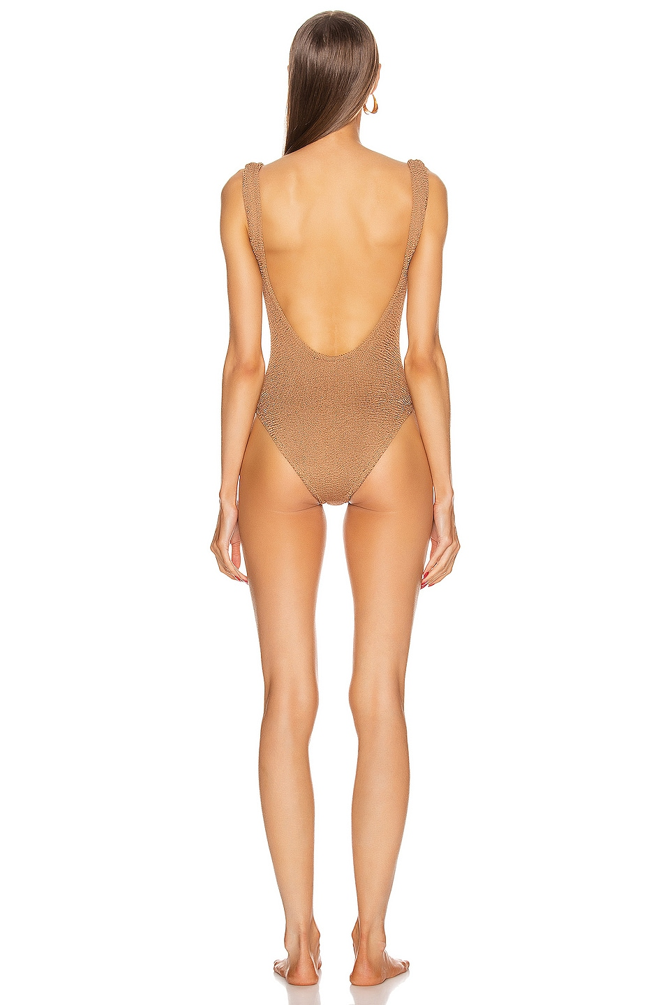Image 3 of Hunza G Classic Square Neck Swimsuit in Metallic Cocoa
