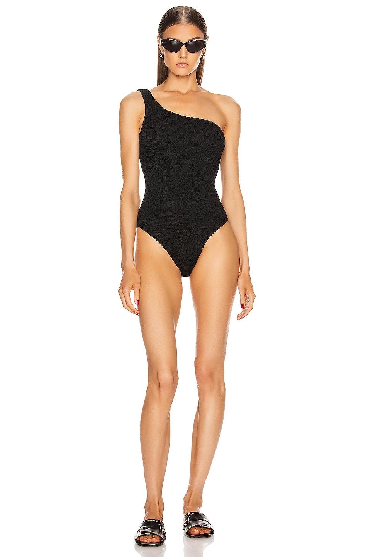 Image 1 of Hunza G Nancy Swimsuit in Black Crinkle