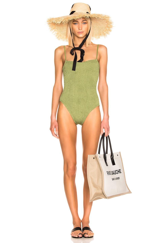 Image 1 of Hunza G Maria Swimsuit in Metallic Moss