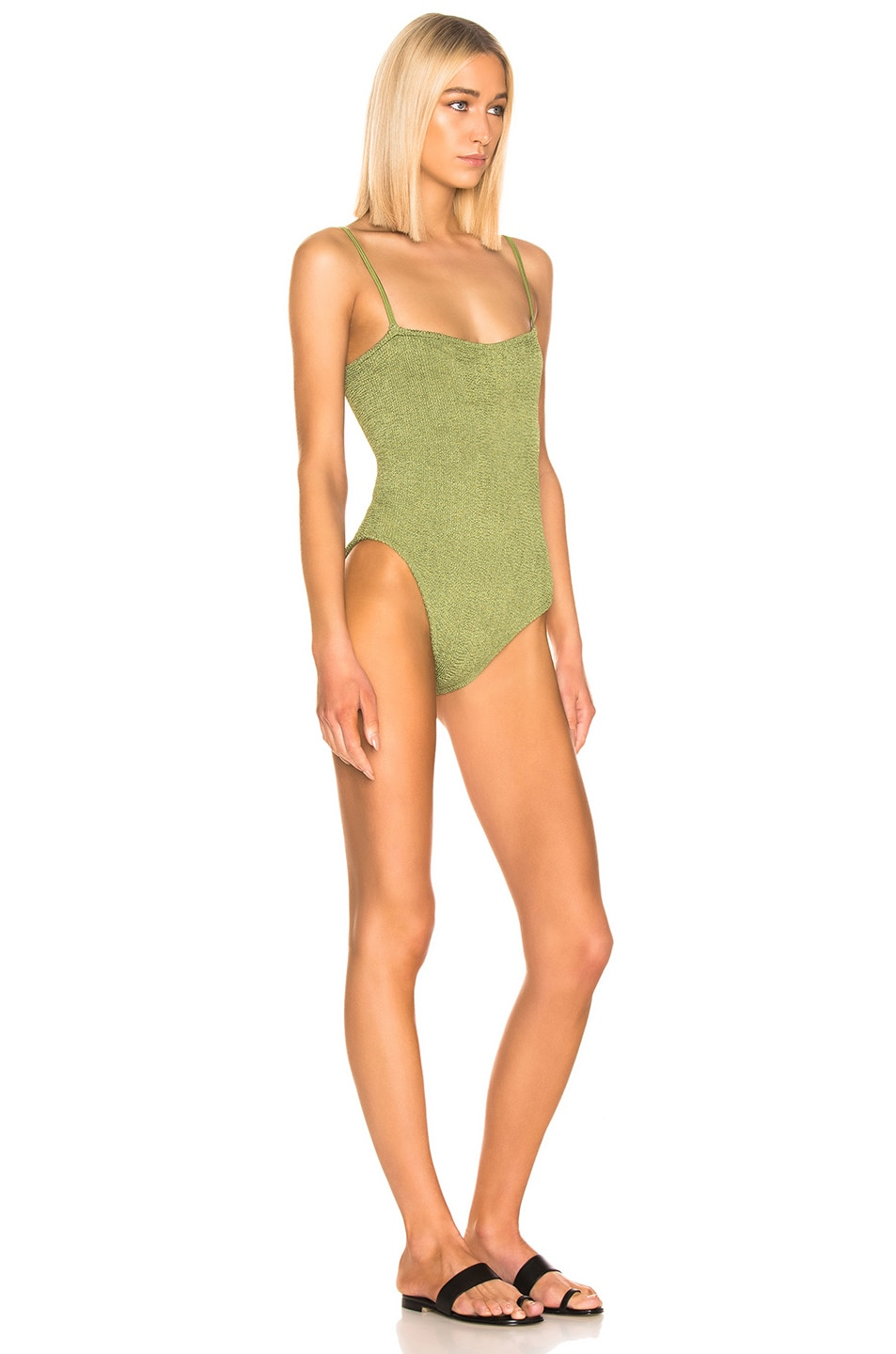 Image 2 of Hunza G Maria Swimsuit in Metallic Moss