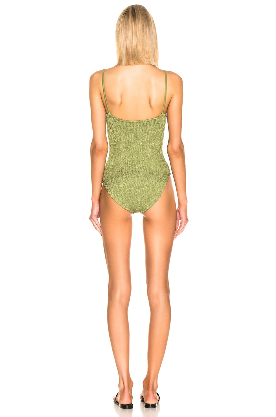 Image 3 of Hunza G Maria Swimsuit in Metallic Moss