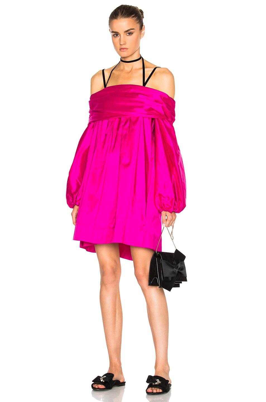 Image 1 of Isa Arfen Off Shoulder Puff Dress in Hot Pink