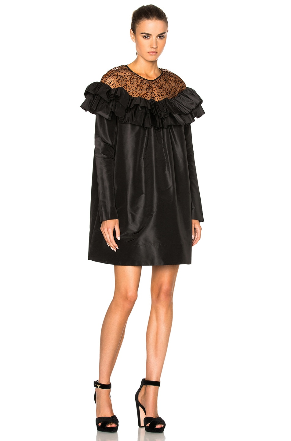 Image 1 of Isa Arfen Ruffle Dress in Cognac & Black