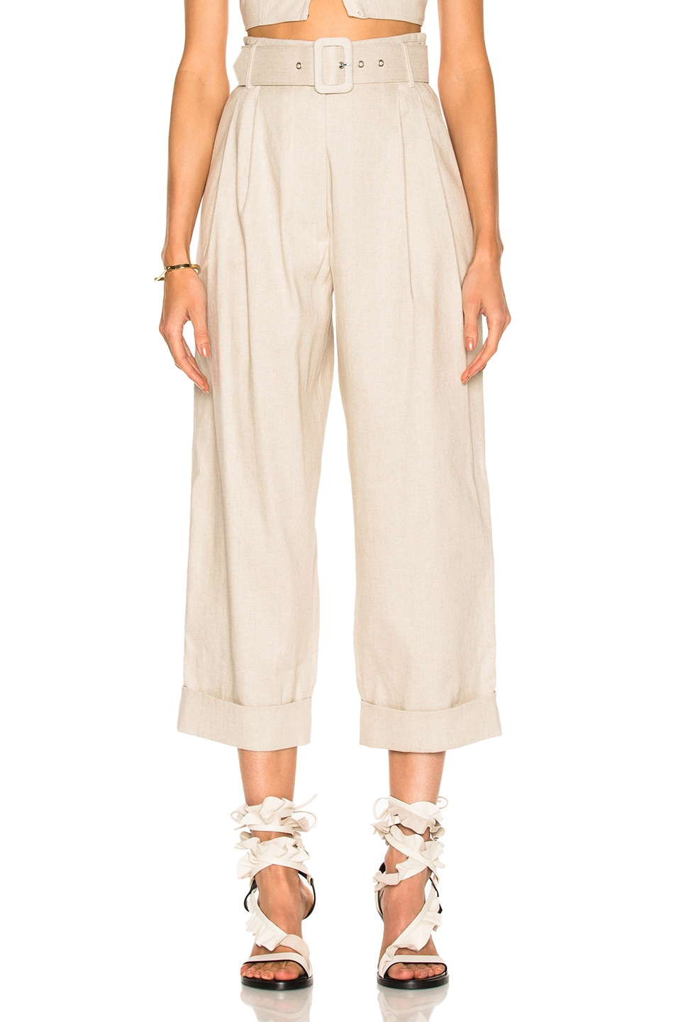 Image 1 of Isa Arfen Safari Tapered Trouser Pant in Natural