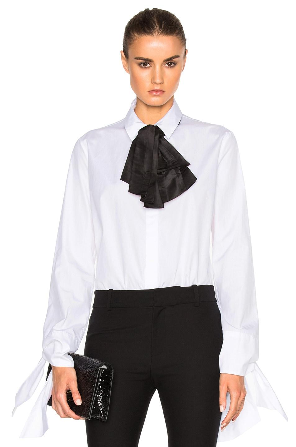 Image 1 of Isa Arfen Taffeta Bow & Tie Sleeve Top in White