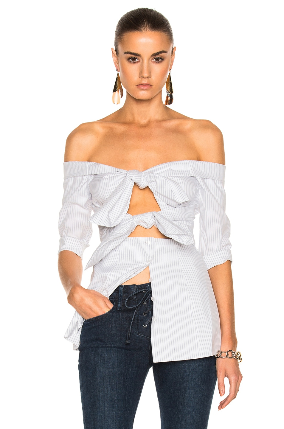 Image 1 of Isa Arfen for FWRD Double Knot Long Sleeve Top in White Stripe