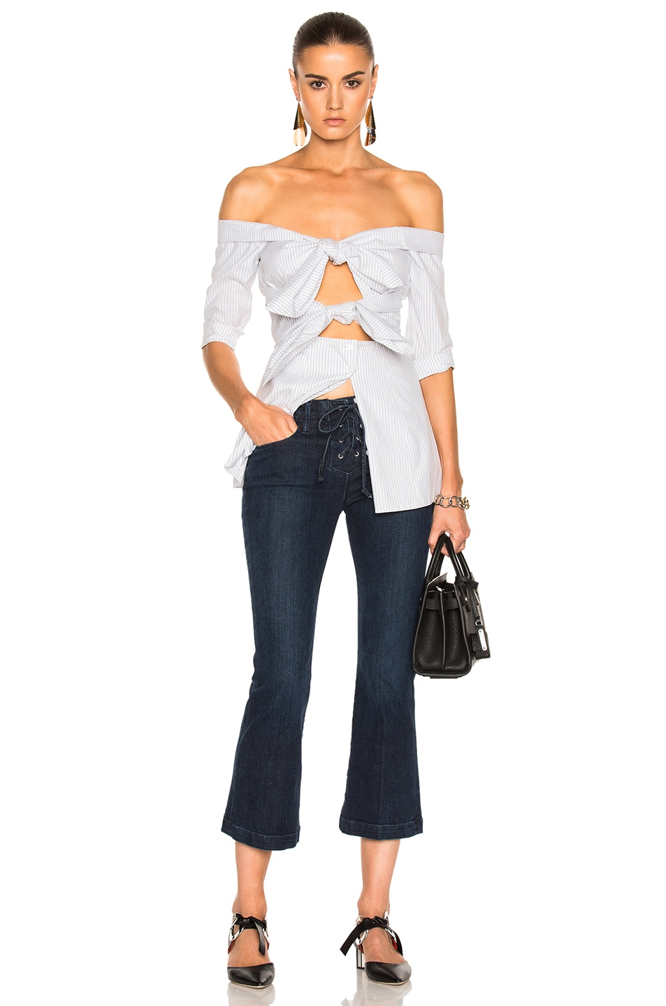 Image 5 of Isa Arfen for FWRD Double Knot Long Sleeve Top in Sailor