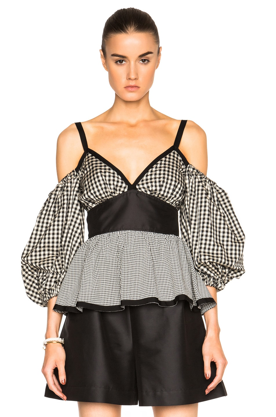 Image 1 of Isa Arfen Off The Shoulder Puff Sleeve Top in Check Multi