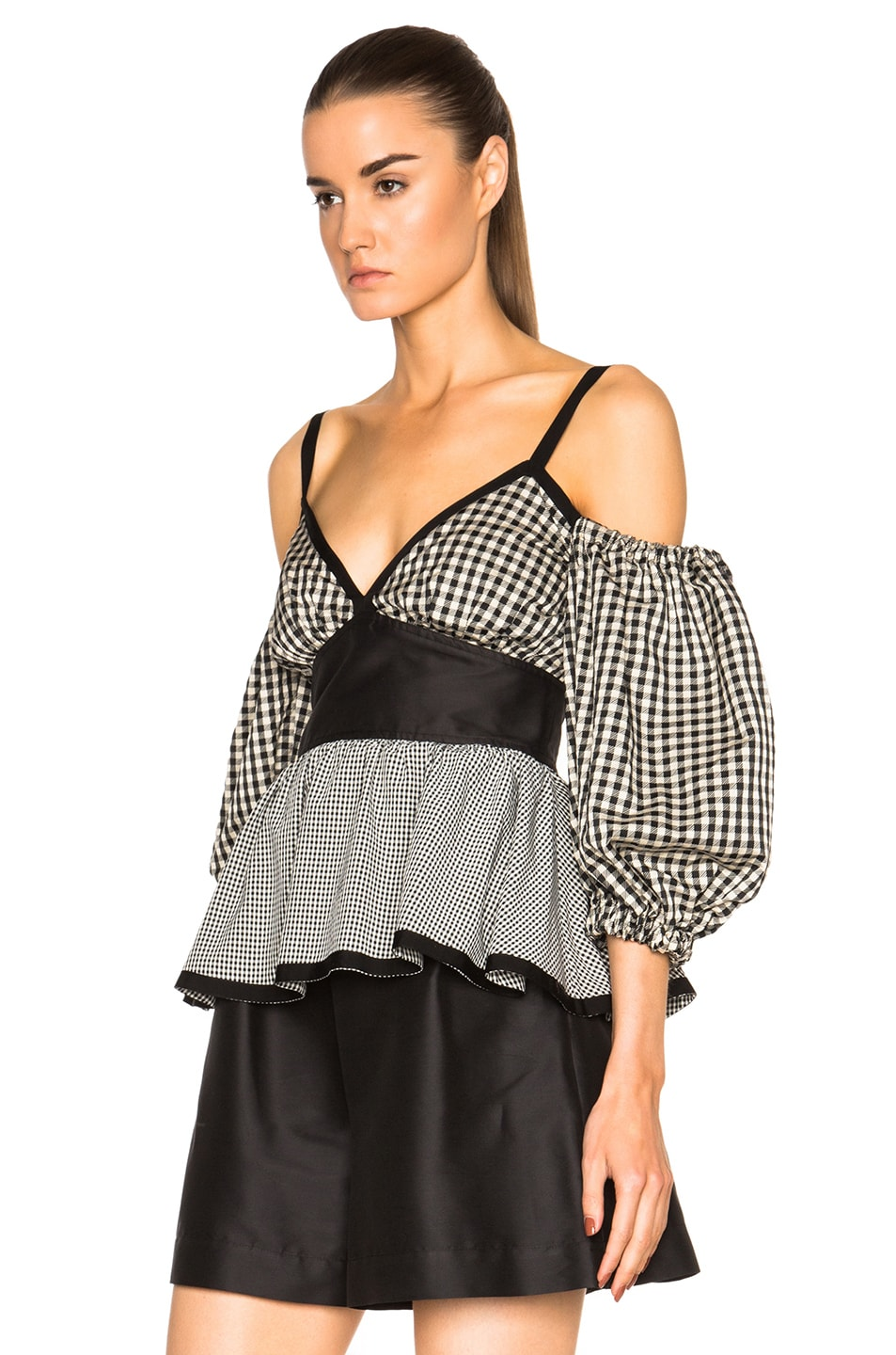 Image 2 of Isa Arfen Off The Shoulder Puff Sleeve Top in Check Multi
