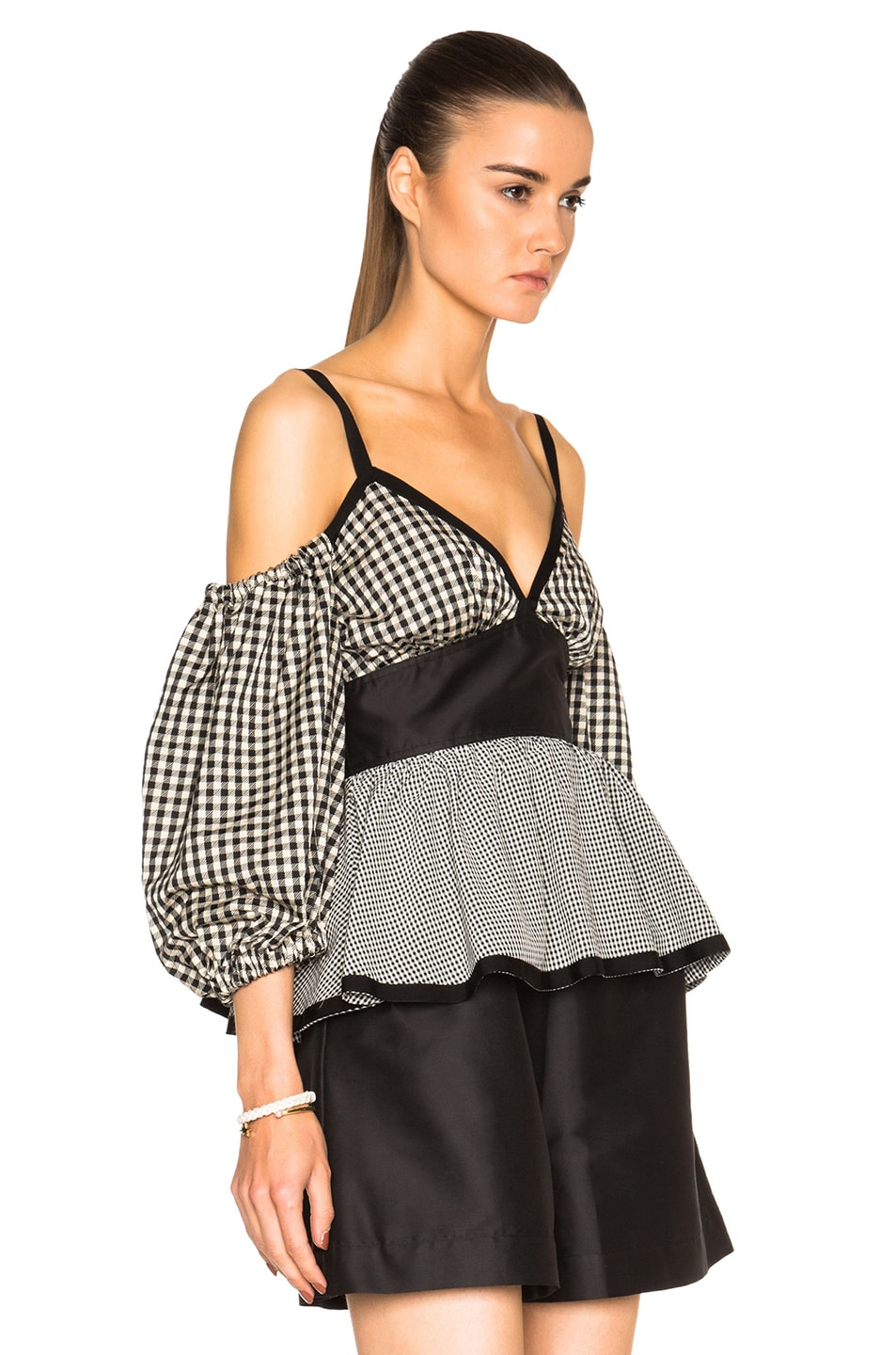 Image 3 of Isa Arfen Off The Shoulder Puff Sleeve Top in Check Multi