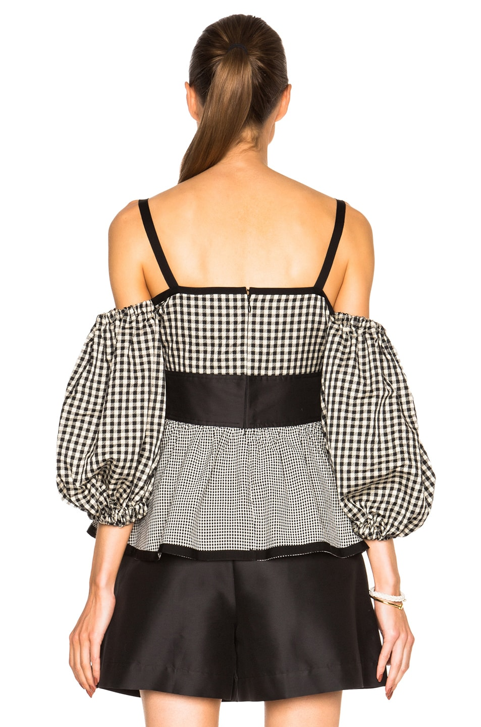 Image 4 of Isa Arfen Off The Shoulder Puff Sleeve Top in Check Multi