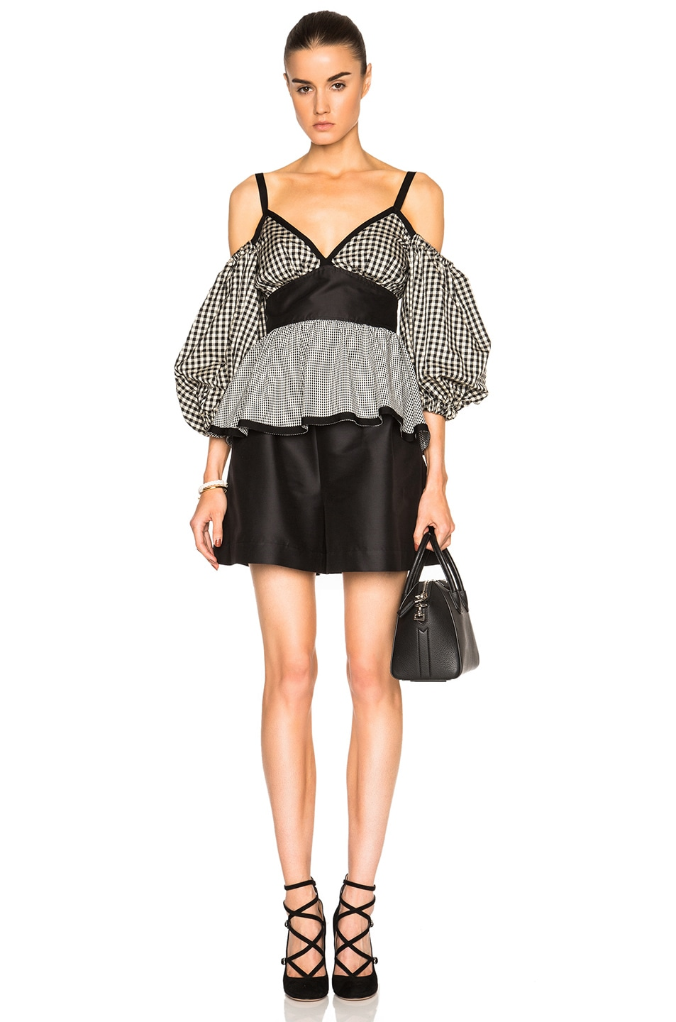 Image 5 of Isa Arfen Off The Shoulder Puff Sleeve Top in Check Multi