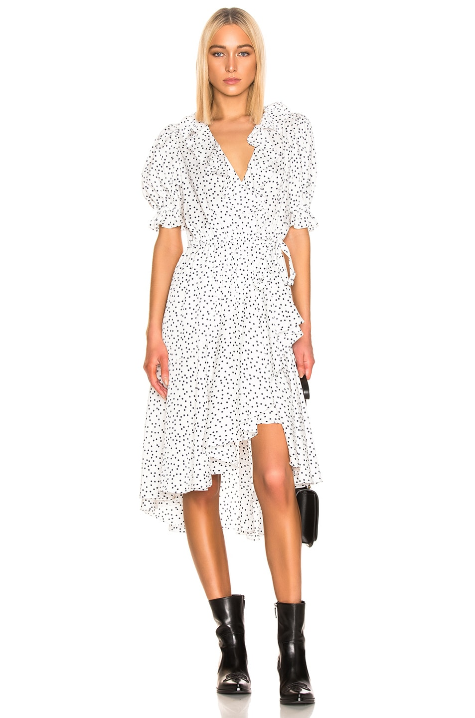 Image 1 of ICONS Objects of Devotion Cha Cha Dress in White & Navy Dot