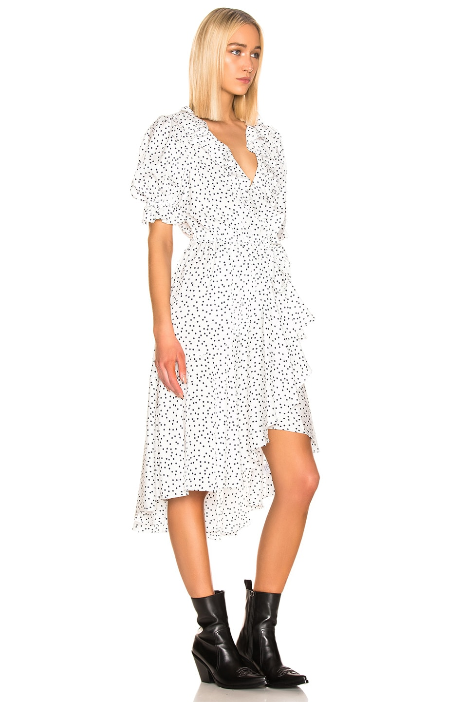 Image 2 of ICONS Objects of Devotion Cha Cha Dress in White & Navy Dot