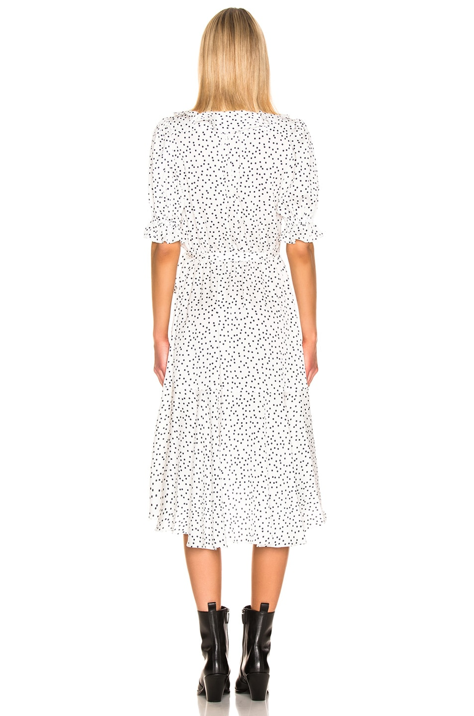Image 3 of ICONS Objects of Devotion Cha Cha Dress in White & Navy Dot