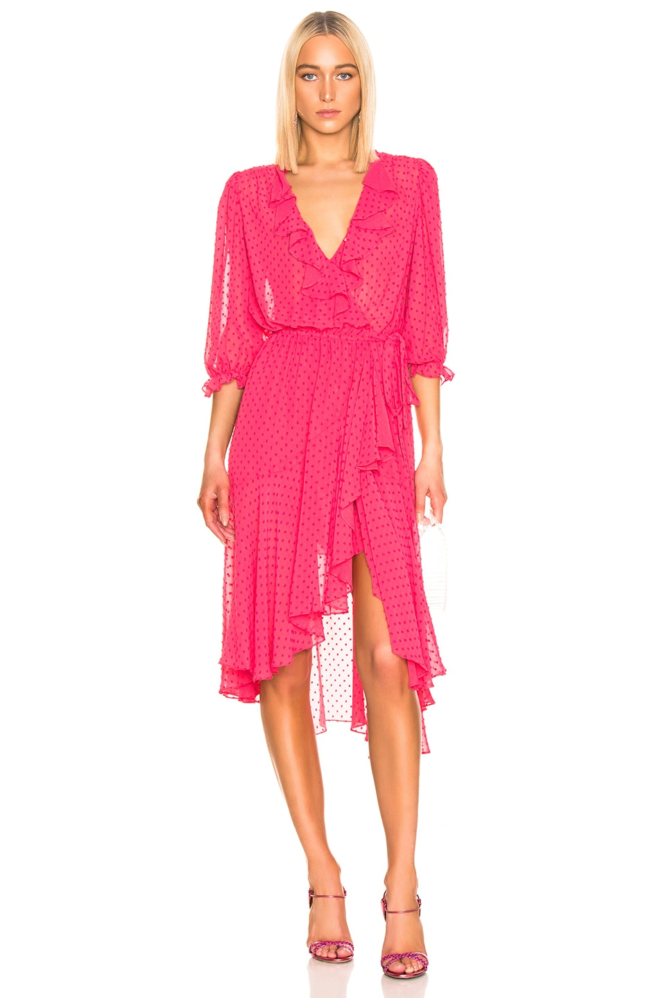 Image 1 of ICONS Objects of Devotion 3/4 Sleeve Cha Cha Wrap Dress in Deep Pink