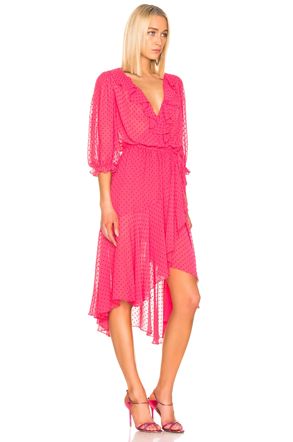 Image 2 of ICONS Objects of Devotion 3/4 Sleeve Cha Cha Wrap Dress in Deep Pink